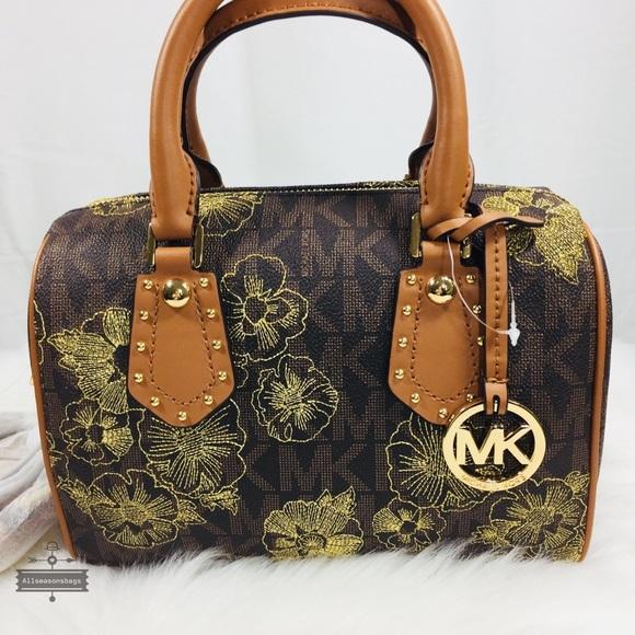 20c4096dca78 Michael Kors Small Aria Satchel Brown Acorn Bag